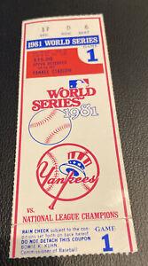 1981 WORLD SERIES GAME 1 NY YANKEES VS LA DODGERS TICKET STUB FREE SHIPPING