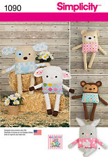 Simplicity Pattern 1090 STUFFED ANIMALS WITH CLOTHES bear monkey lamb puppy