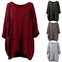 Women Long Sleeve Pullover T-Shirt Top Casual Pocket Crew Neck Blouse Plus Size