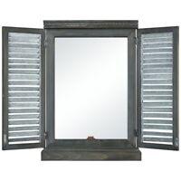Modern Farmhouse Window With Doors Wall Mirror Made Of Iron/Fir Wood/Mirror In