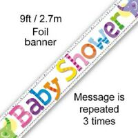 Baby Shower Party 9ft Foil Banner Boy Girl Gender Reveal Decorations Banners