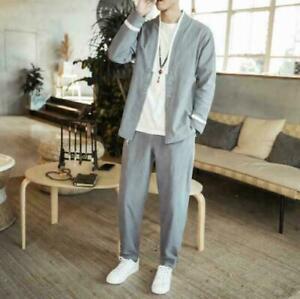 Chinese Mens Harem Linen Cotton Pants Coats Jackets Trousers Suits Casual 2 PCS