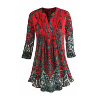 Women's Pleated Paisley Tunic Top -3/4 Sleeve Blouse-Ivory, Red, Turquoise, Navy