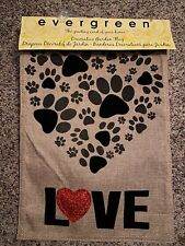 New Indoor / Outdoor Paw Prints Red Heart Love Burlap Garden Flag Dog Lovers