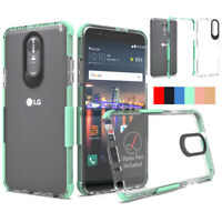 For LG Stylo 4 Case Shockproof Dual Silicone Rubber TPU Bumper Clear Hard Cover