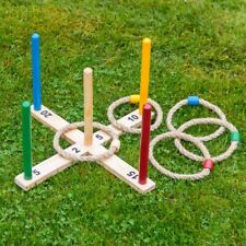 Wooden Quoits Garden Summer Fun Rope Hoopla Game Family Throwing Indoor Outdoor