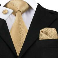 USA Gold Solid Novelty Classic Mens Silk Tie Woven Necktie Set Wedding Business