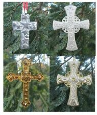 Lot of 4 CROSS Christmas Tree Ornaments Silver Metal Sparkling O86