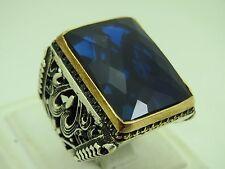 Sapphire Stone Men's Ring Sz 11 Turkish Handmade Jewelry 925 Sterling Silver