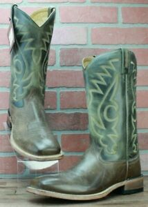 Cowboy Boots OLD WEST Men's Brown and Green Square Toe Boots, BSM1845 Sz 10.5 D