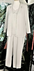 COCKTAIL PALAZZO PANT SUIT GRAY TAUPE 18W PLUS MOTHER OF BRIDE