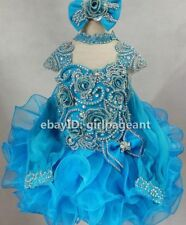 2 sleeves Infant/toddler/baby crystal/stone Pageant Dress 013