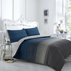 100% Cotton Grey Stripey Reversible Ultra Soft Printed Duvet Cover Set All Sizes