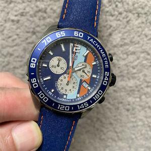 TAG HEUER  Formula 1 Quartz Chronograph Gulf Blue Dial Leather Strap CAZ101N.FC