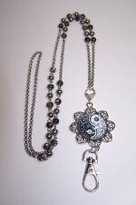 Yin and Yang Paisley Cabochon Beaded Lanyard Necklace Work ID Badge Card Holder