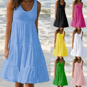 Women Cami Ladies Jumper Sleeveless Sundress Loose Beach Swing Summer Midi Dress