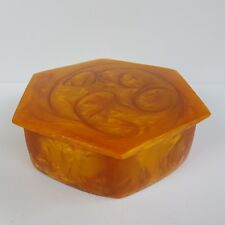 Vintage Amber Cataline Bakelite Lava Flow Trinket Jewerly Box Hexagonal