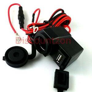 Motorcycle Waterproof USB Charger Power Socket wire for Garmin/Mio GPS/Dash cam