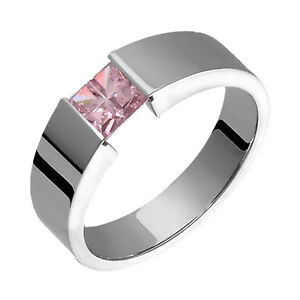5mm Wide Titanium Ring Pink Colored Cubic Zirconia Ring Engagement Wedding Band