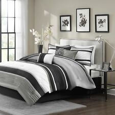 Madison Park Blaire Queen Size Bed Comforter Set Bed in A Bag - Grey, Stripe .