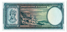 """GREECE"" 1000 DRACHMAI ""1939"" aUNC BANKNOTE ""WORLD'S RAREST""78 years old BEAUTY"""