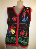 Bobbie Brooke S Vest Christmas Ugly Sweater Sequin Beaded Embroidered Red Gold