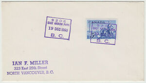 East Arrow Park, BC 1960 MOON cancel on cover to North Vancouver