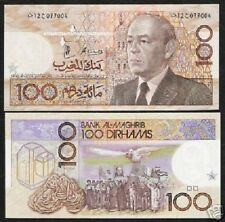 MOROCCO 100 DIRHAMS P65 1987 HASSAN EAGLE FLAG UNC CURRENCY BILL BANK NOTE MONEY