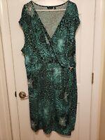 Womens Plus Size 3X Pre-Owned Apt 9 Green Floral Geometric Stretch Wrap Dress