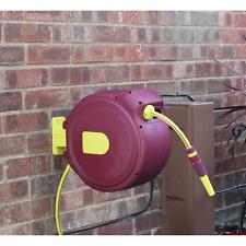 20m Heavy Duty Auto Retractable Rewind Garden Hose Pipe Reel Spray Wall Mounted