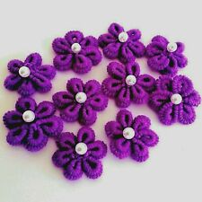 New listing Handmade applique large flowers crochet 6 petals acrylic colors sewing 10