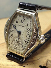 ANTIQUE WALTHAM 14K WHITE GOLD FANCY CASE WOMEN'S MANUAL WIND WATCH  CLEAN WORKS