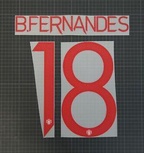 BRUNO FERNANDES #18 2020-2021 Player Size European & Cup Red Nameset Plastic