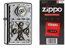 Zippo Vintage Cross & Skulls 2004746 mit Ersatzdocht
