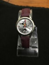 Disney production Silvertone watch black Dail,brown Leather Band. Quartz ,