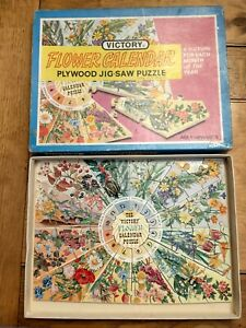 Vintage Victory Flower Calendar Wooden Jigsaw Puzzle Months of the Year