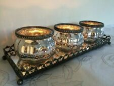 Set of 3 Mercury Silver Glass Tea Light Holders Pumpkin Style on Mirrored Tray