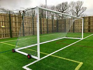 Pair of 24x8 11v11 Football Goals - Freestanding - Portable - Wheeled - Free P&P