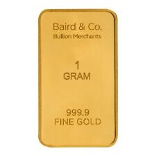 More details for 1g baird co minted gold bar   fast delivery   certificate   velvet pouch