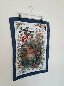Vintage Tea Towel Cute Rabbit Graphic Collectible Wall Hanging Retro Cottagecore