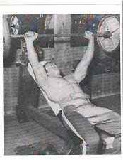 bodybuilder Larry Scott barbell incline bench press bodybuilding photo b+w