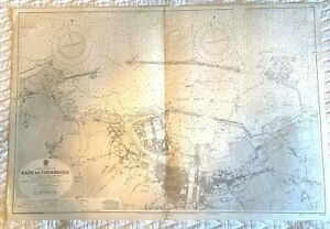 1948 Vintage Maritime Chart Cherbourg, France Harbor & channel Admiralty map