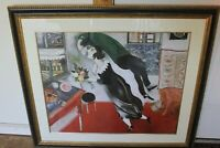 """Framed Marc Chagall Birthday 39-1/2"""" x 34"""" Woman and floating man in love @@@"""