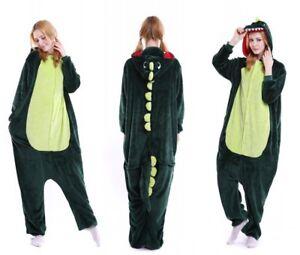 Green Pink Dinosaur Unisex Onesiee Kigurumi Fancy Dress Costume Hoodies Pyjamas