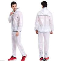 Shiny wet look glanz pvc nylon track suit sport mens XL jacket pants see through
