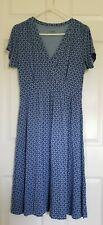 Ll Bean Womens Dress Blue Print Rayon/Spandex Size Medium M Comfort