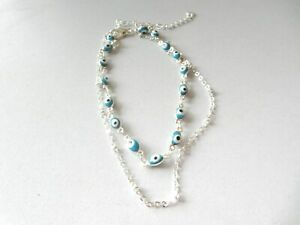 925 Sterling Silver Double Chain Evil Eye Anklet + Gift Bag