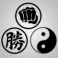 "Martial Arts Decals, Ying-Yang / Symbol for Success / Fist 20"" (3 decals)"