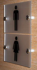 CONTEMPORARY TOILET SIGN/PLAQUE - QUALITY FROSTED ACRYLIC + Fittings