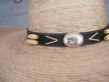 Mexican Cowboy Style Straw hat with conchos and bone beads One size  S to L